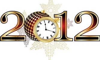 Обои 2012, цифры, будильник, новый год