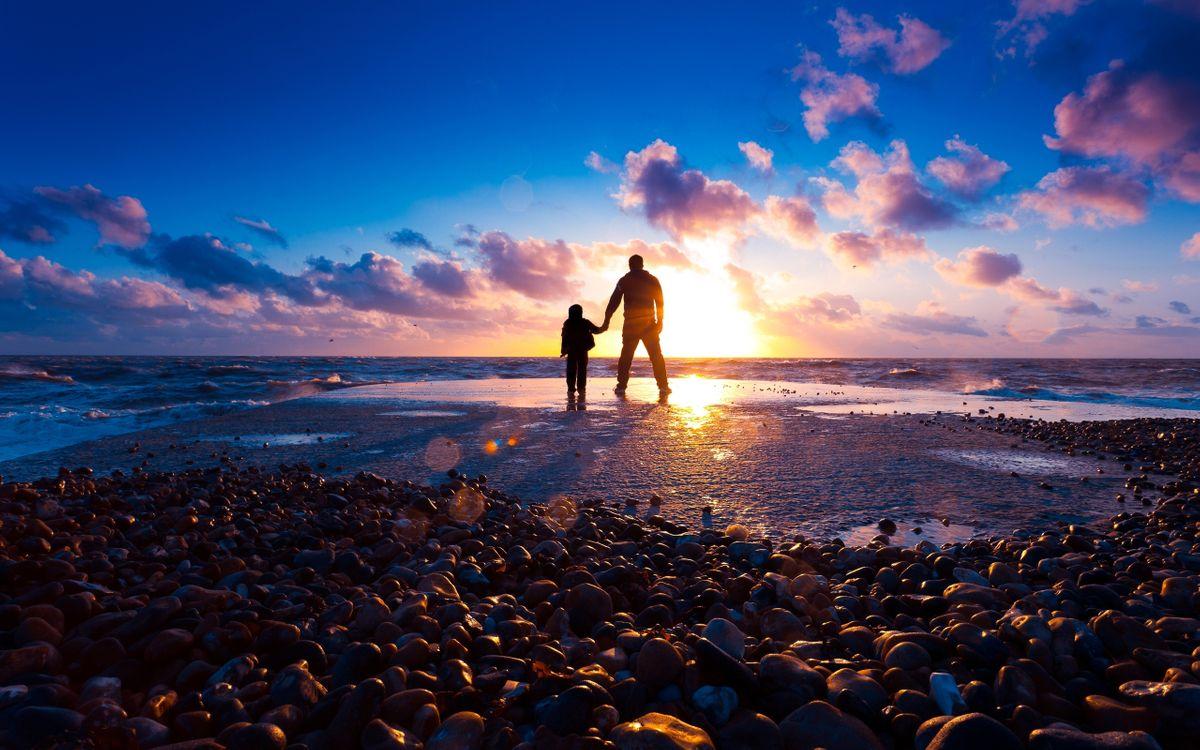 Фото бесплатно берег, пляж, закат, море, солнце, камни, лучи, свет, разное