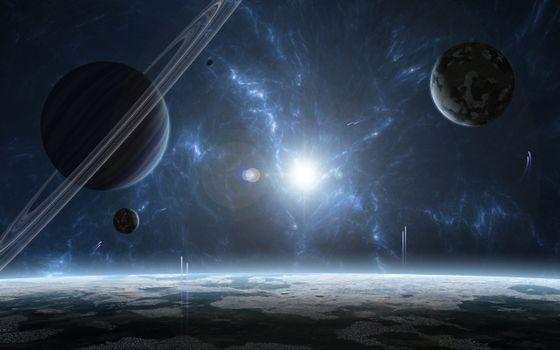 Photo free star system, gas giant, star