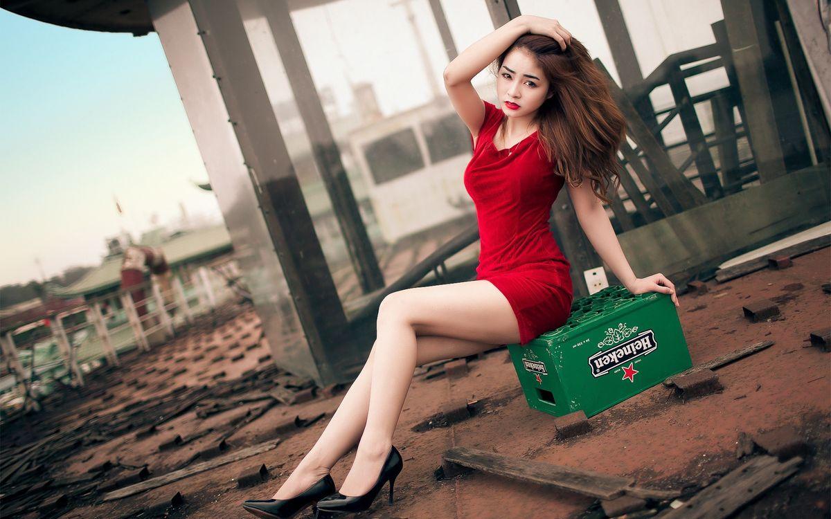 Фото бесплатно девушка, поза, платье - на рабочий стол