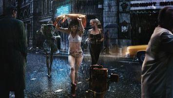 Бесплатные фото девушки,дождь,улица,дорога,ливень,вода,ночь
