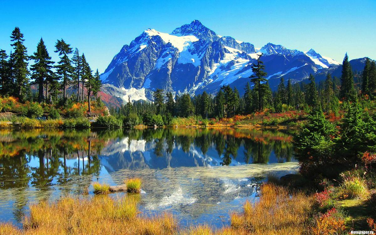 Картинка горы, снег, высота, скалы, камни, небо, облака, вода, природа на рабочий стол. Скачать фото обои природа