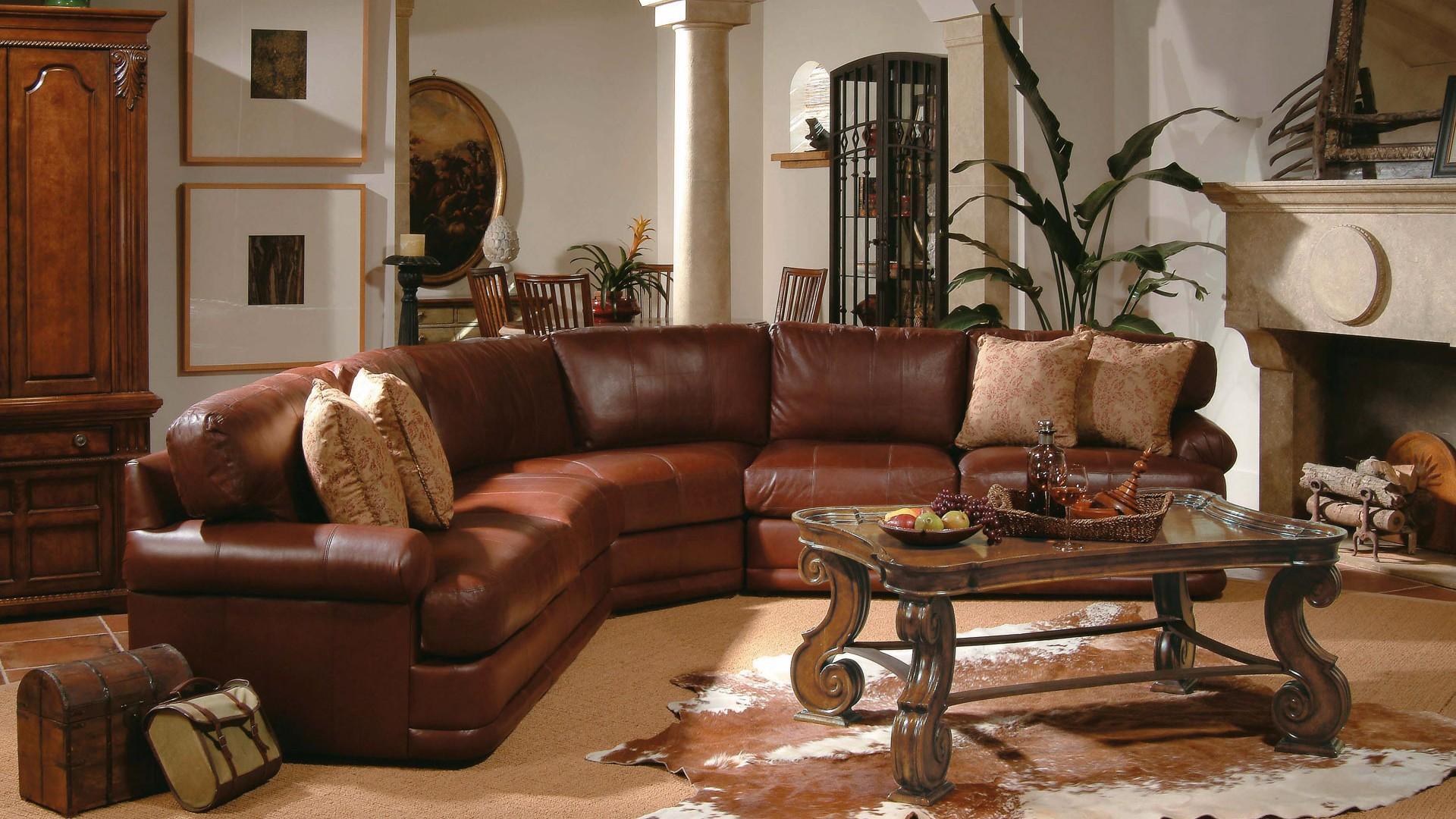 гостиная, диван, кожаный