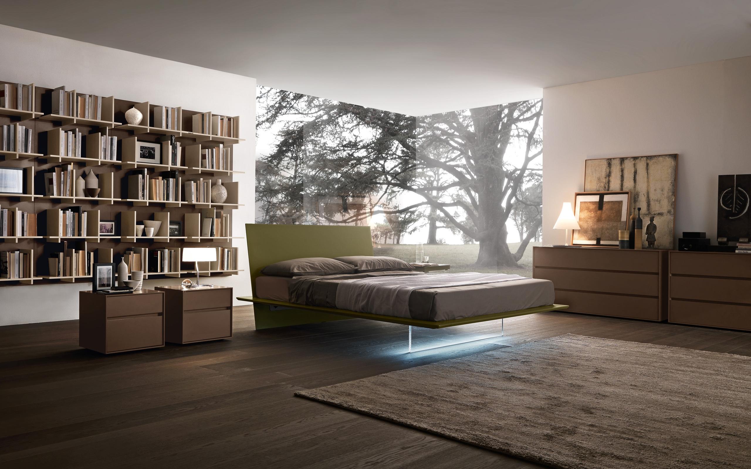 комната, кровать, подсветка