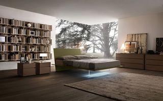 Бесплатные фото комната,кровать,подсветка,тумбочки,светильники,полка,книги