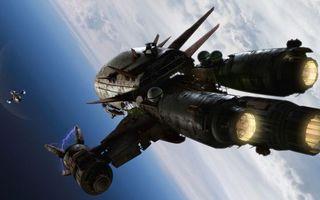 Бесплатные фото космические,корабли,звездолет,турбины,топливо,планеты,облака