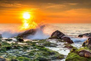 Бесплатные фото море,прибой,солнце,закат,волны,берег,брызги