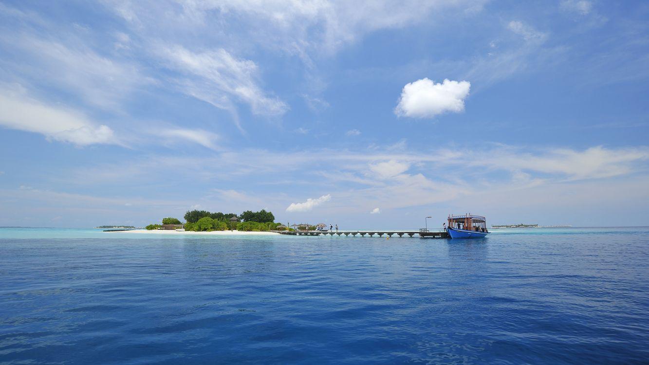 Фото бесплатно океан, вода, остров, небо, облака, течение, пейзажи, пейзажи