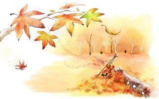 Бесплатные фото осень,листья,листопад,клен,скрипка,бревно,деревья
