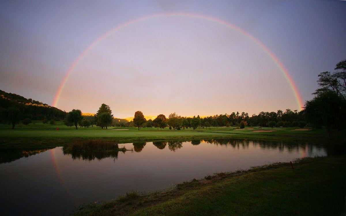 Фото бесплатно озеро, вода, трава, радуга, небо, деревья, лес, природа, пейзажи, пейзажи