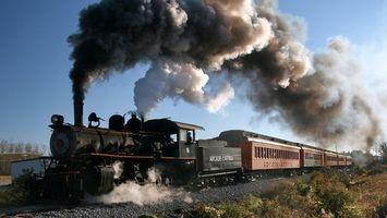 Фото бесплатно паровоз, труба, дым, вагоны, трава, дорога, разное