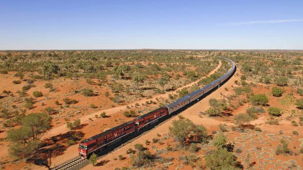 ghan train, песок, кусты, деревья, поезд