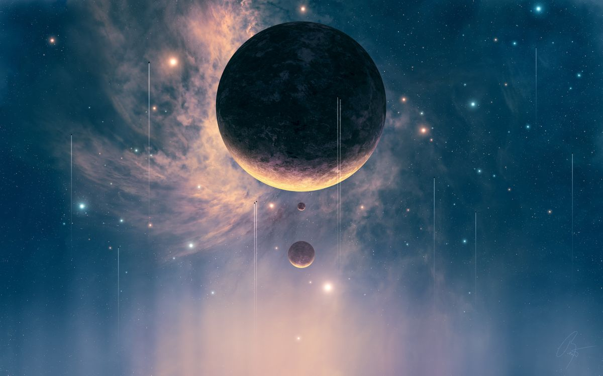 Фото бесплатно планеты, звезды, небо, туманность, галактика, кометы, астероид, спутники, корабли, космос, космос