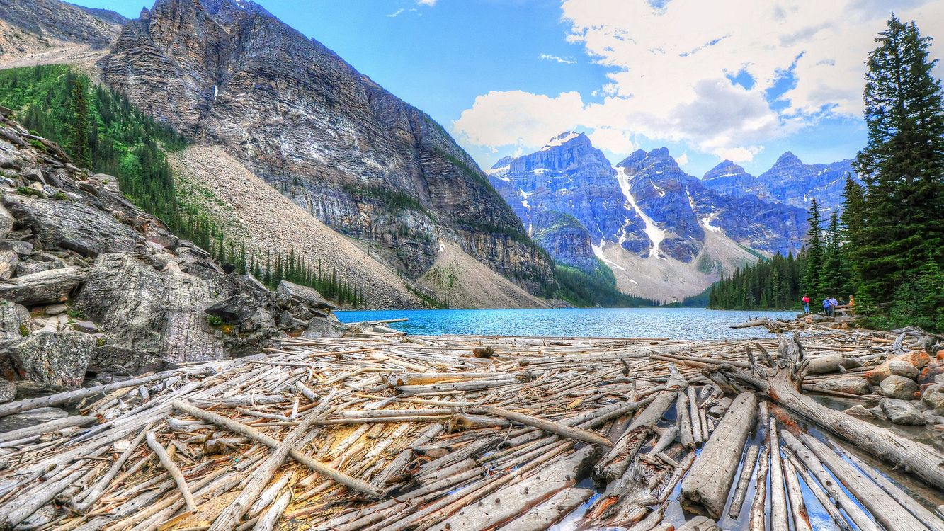 Фото бесплатно река, вода, деревья, горы, снег, небо, природа, природа