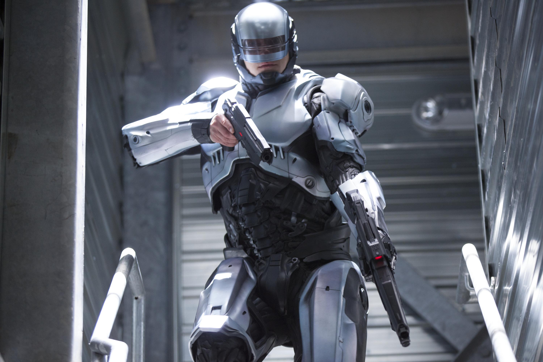 Screensaver Robocop, robot, COP, 2014, weapons, gun, stairs, steps