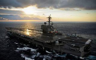 Заставки самолет, корабль, море, океан, крейсер, полоса, взлетная