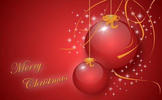 Бесплатные фото шары,украшение,игрушки,линии,звезды,ленточка,поздравление,надпись,фон,красный,висит,новый год