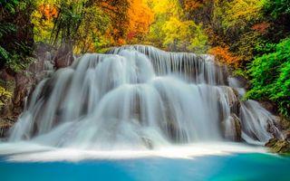 Обои водопад, река, деревья, листья, цветные, камни, природа