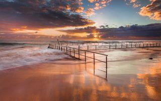 Заставки пейзажи, океан, облака