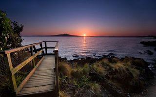 Фото бесплатно морской закат, солнце, чистое небо