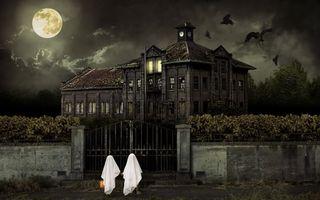 Бесплатные фото облака,обитель,ночь,здание,halloween,дом,луна