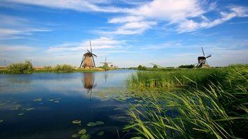Бесплатные фото мельницы,ветровая,вода,река,берег,природа