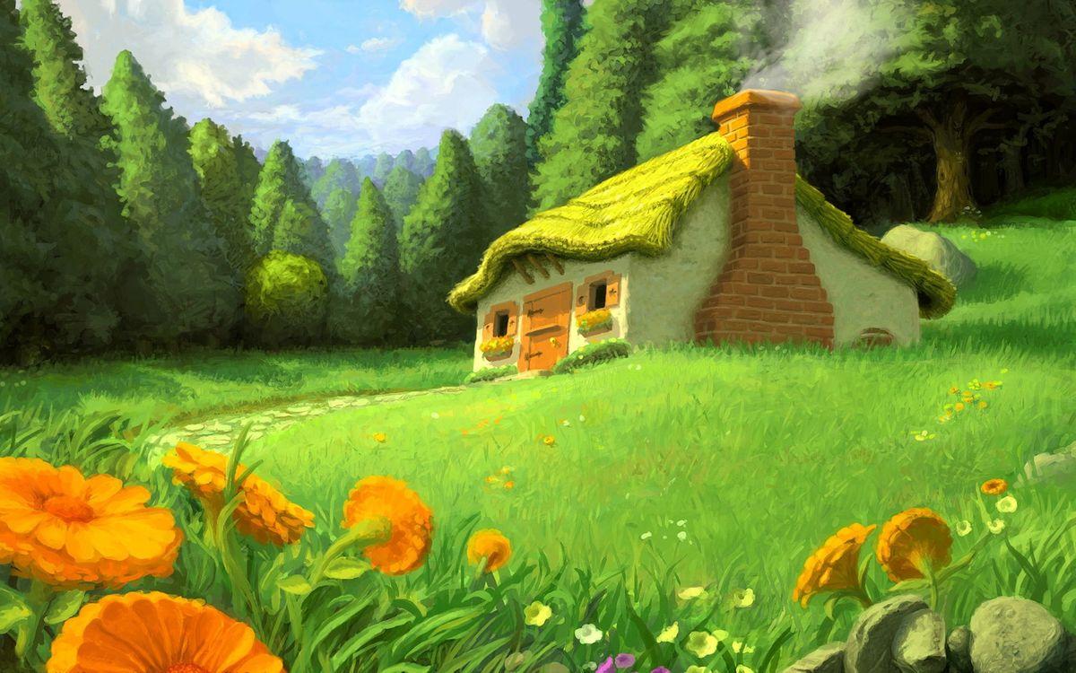 Картинка картинка, домик, лес, трава, разное на рабочий стол. Скачать фото обои разное