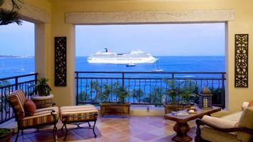 Заставки балкон,кресла,столик,вид,пальмы,море,лайнер