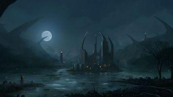 Фото бесплатно болото, луна, вода