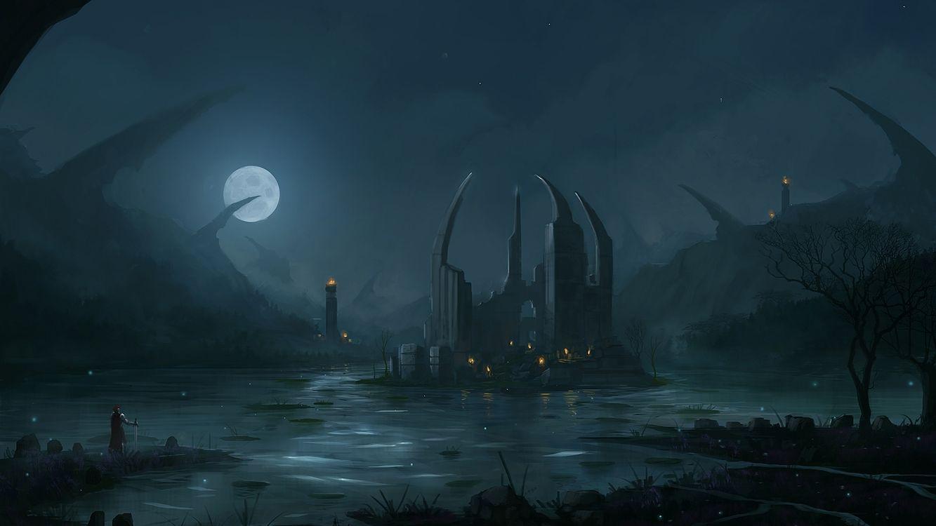 Обои болото, луна, вода, люди, остров, разное на телефон | картинки разное