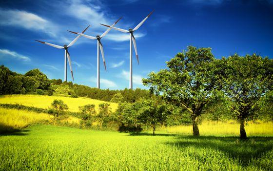 Фото бесплатно ветрогенератор, трава, деревья