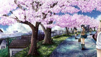 Фото бесплатно девочка, школьница, сад, сакура, деревья, ветки, цветки, портфель, рюкзак, аниме