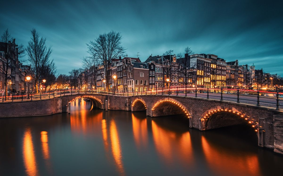 Фото бесплатно дорога, мост, деревья, дома, освещение, город, город