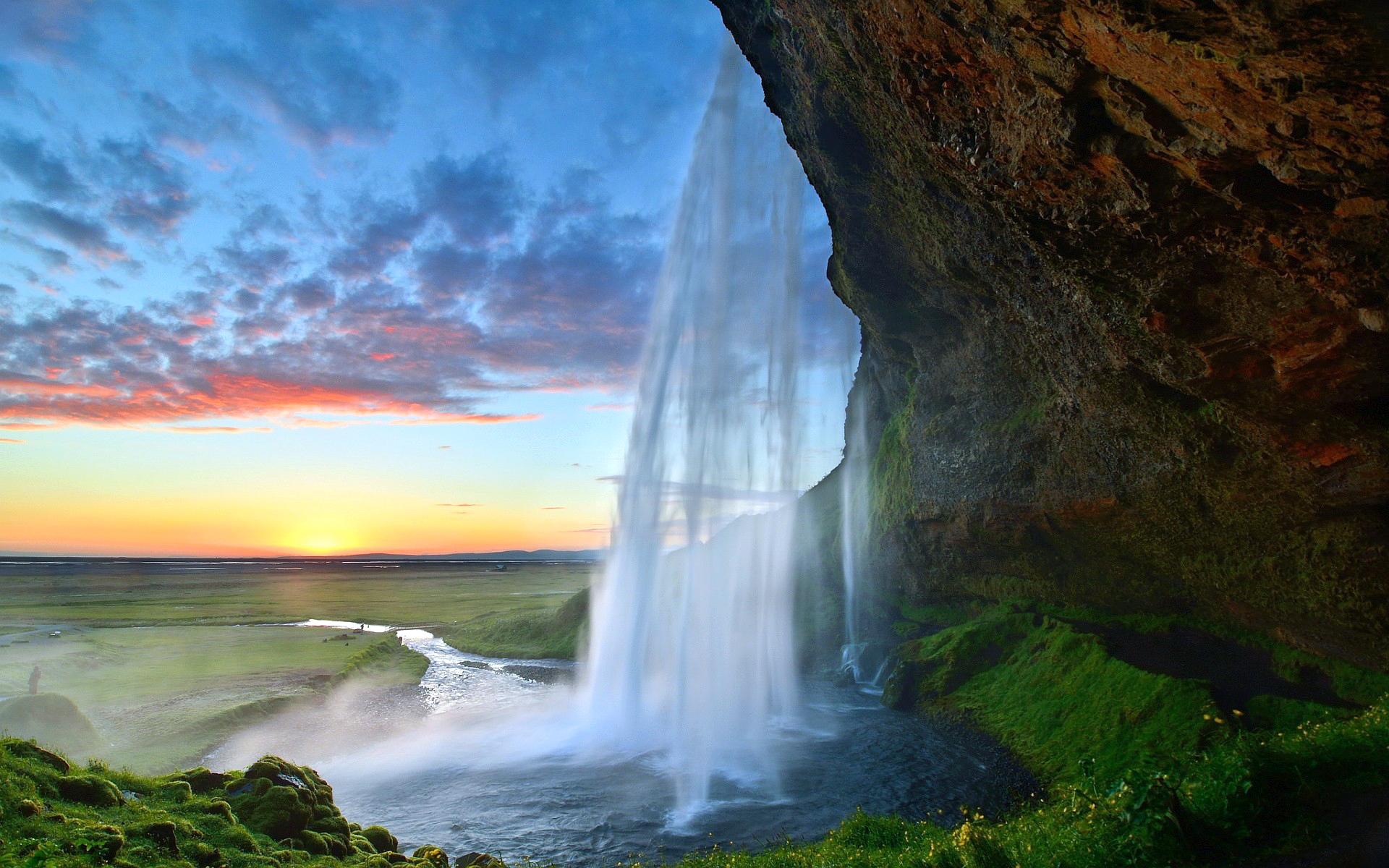 исландия, водопад, закат