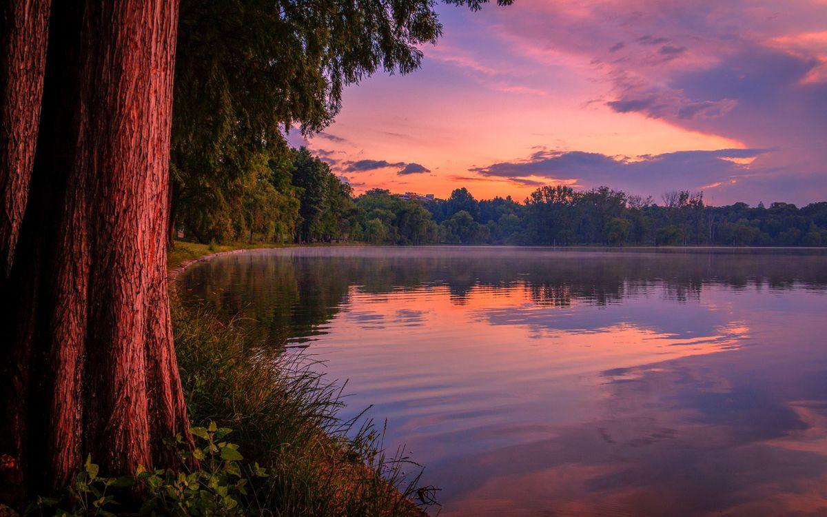 Фото бесплатно круглое озеро вечерний - на рабочий стол