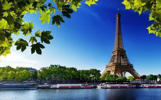 Заставки листья, эйфелева, башня, париж, вода, город