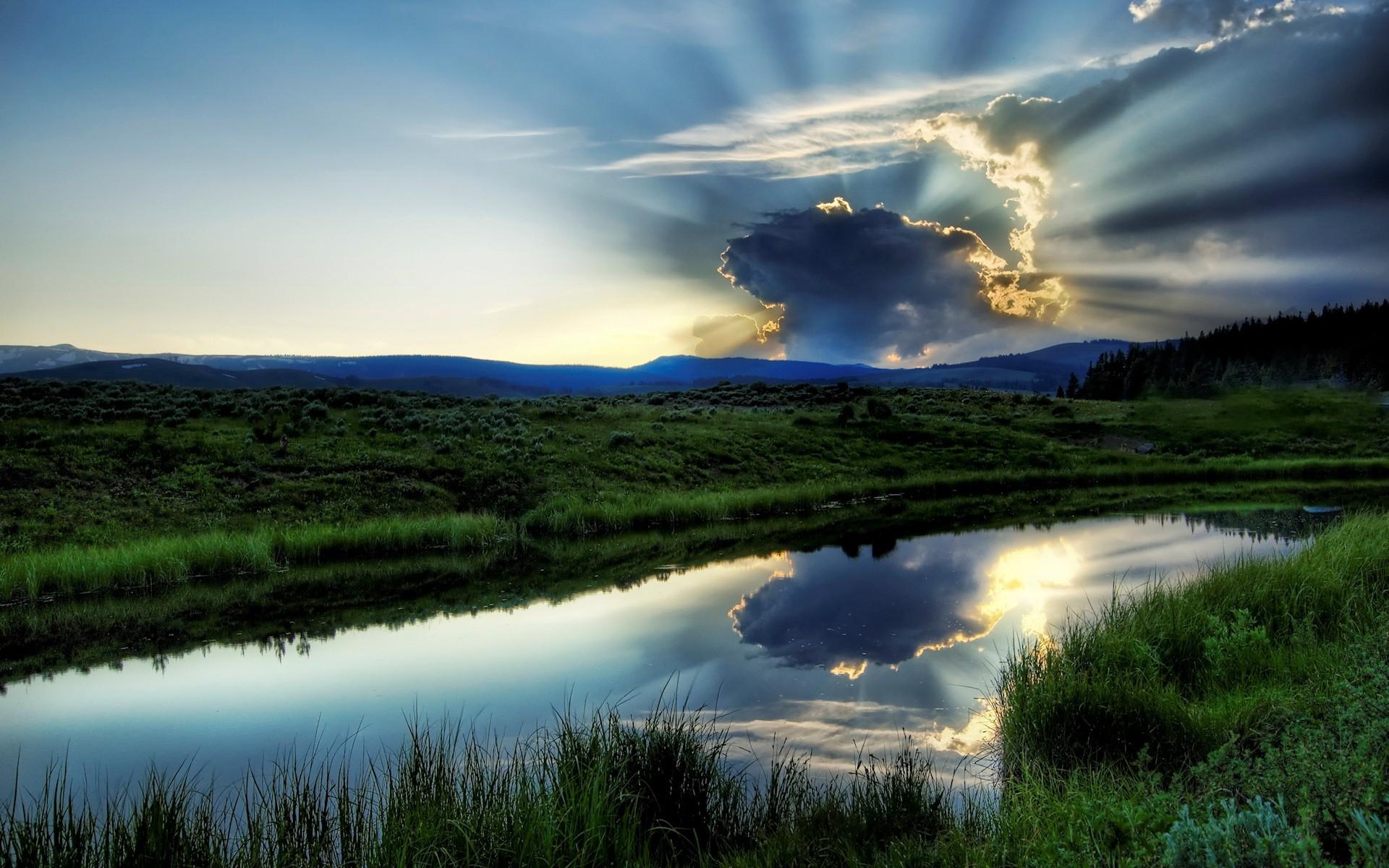 природа облака солнце река скачать