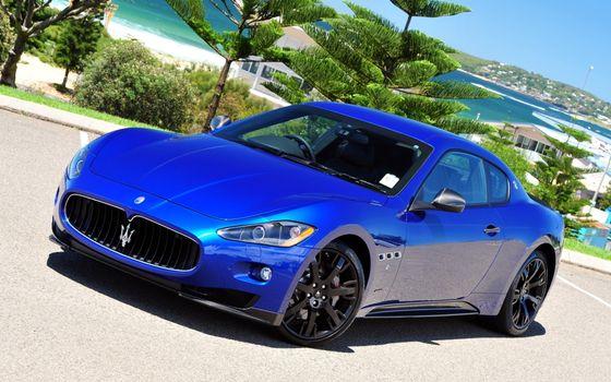 Бесплатные фото maserati,синий,набережная,машины