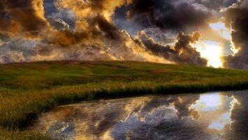 Фото бесплатно поле, озеро, вода