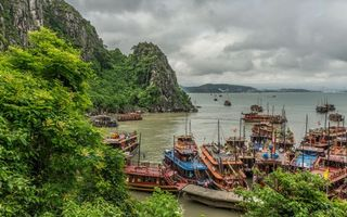 Фото бесплатно причал, лодки, горы