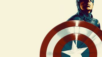 Обои щит, звезда, красный, белый, америка, костюм, защита, герой, человек, фон, заставка, капитан