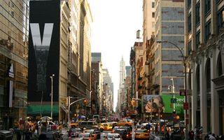 Photo free street, houses, advertising