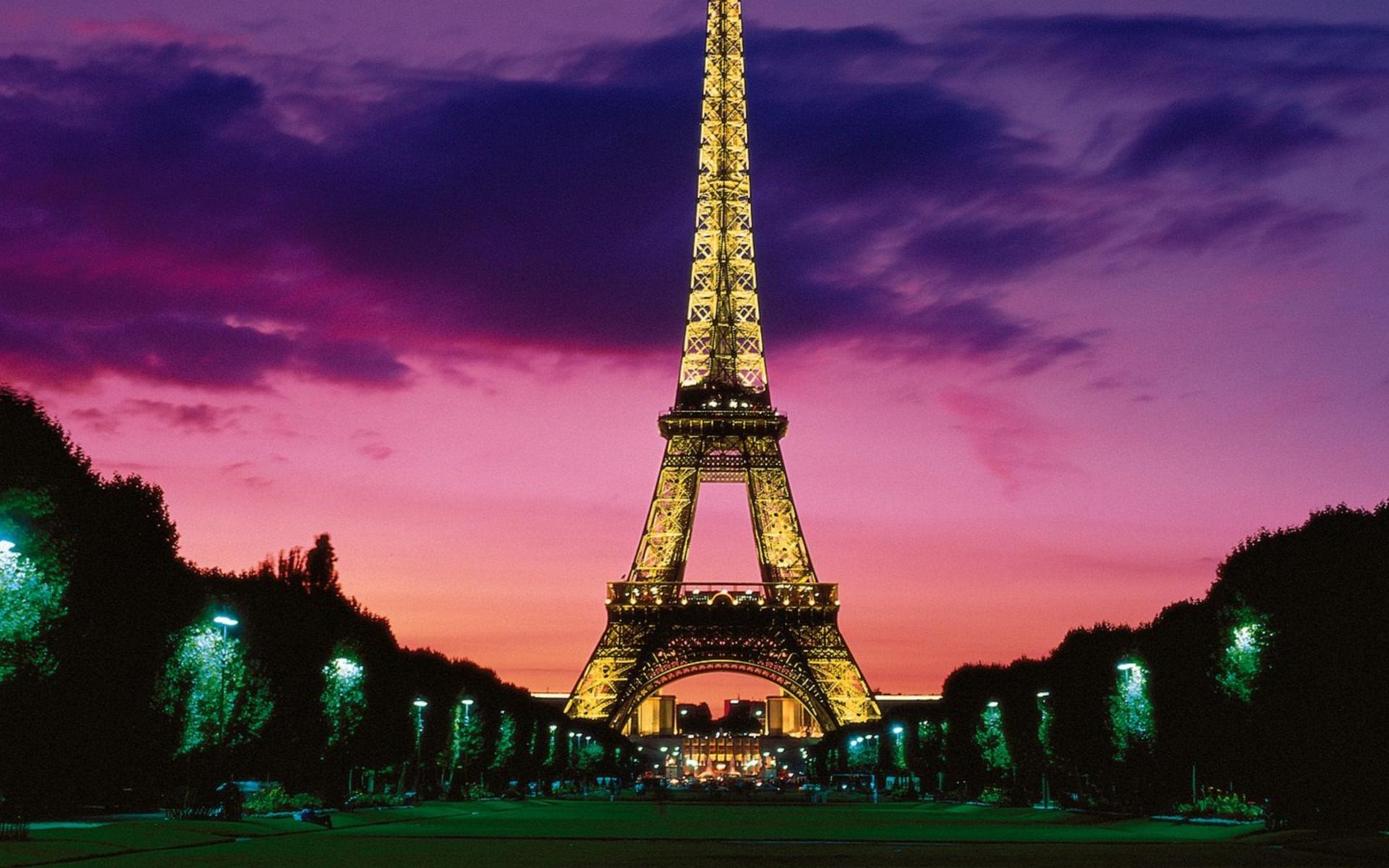 вечер, париж, эйфелева