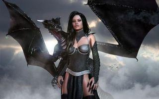 Фото бесплатно arne, девушка, дракон