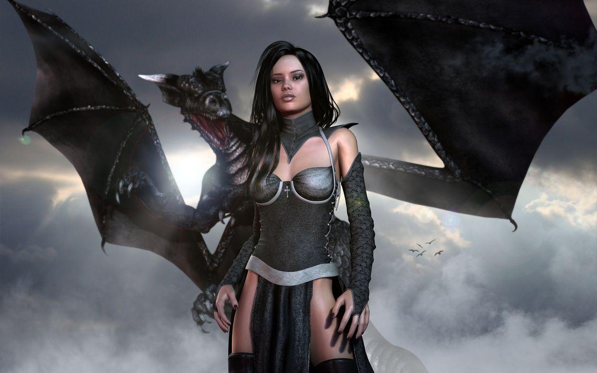 Фото бесплатно arne, девушка, дракон - на рабочий стол