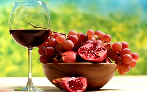 Заставки гранат, вино, виноград