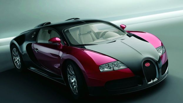 Photo free bugatti, black and red, view