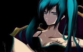 Бесплатные фото девушка,глаза,волосы,белье,грудь,татуировка,аниме