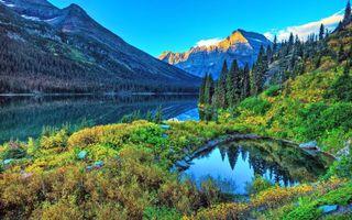 Заставки горы,озеро,лес,пейзажи