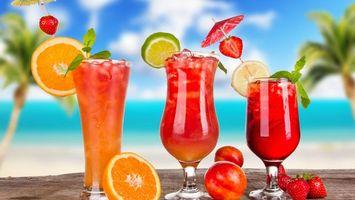Фото бесплатно коктейль, стакан, апельсин, лайм, пляж, отдых, напитки